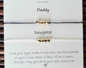 Wish bracelets sets, daddy daughter wish bracelets, mommy daughter wish bracelets, fathers day wish bracelet, custom wish bracelet sets