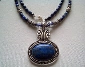 Lapis lazuli necklace | beaded pendant | blue stone | silver | dumortierite quartz