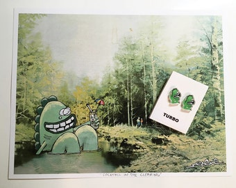 Turbo Monster Earrings and Print GIFT SET