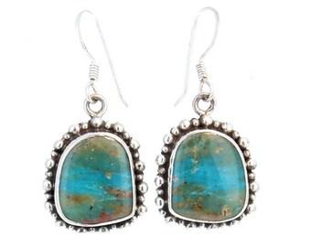 Peruvian Opal Earrings Dot Design #2 Sterling Silver