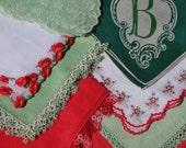 Vintage Christmas Hankies Handkerchief Lot of 8 Assorted Red Green Embroidered Tatting Monogram B