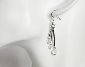 Facet crystal beads on three bars earrings