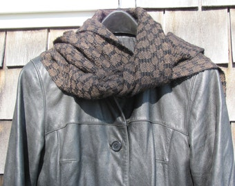 Long Chocolate Brown Black Alpaca Scarf, Artisan Hand Woven Luxury Style Fall Winter Womens Mens Fashion Rustic Woodland Urban Apparel, USA