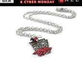 Arkansas Razorback Necklace - Razorback Jewelry - University of Arkansas Jewelry - Arkansas State - Silver Red Warthog Hog NCAA Gift Pendant
