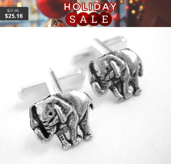Silver Elephant Cufflinks - Mens Republican Gift For Him - Elephant Cuff Links - Mens Gift - Men Accessories