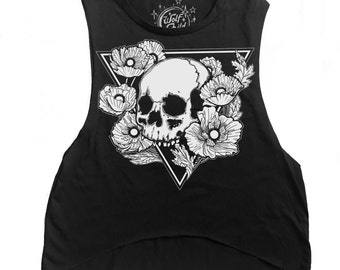 Hereafter - Graphic Tee / Muscle Tank - Skull and Poppies Print