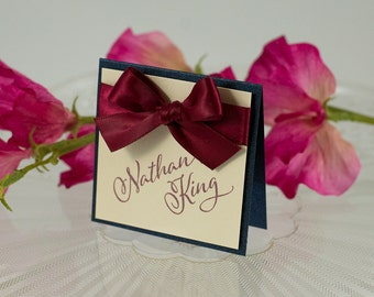 Square, Double-Layered Seating Card with a Bow