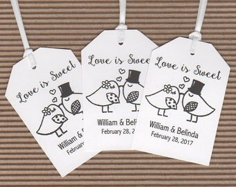 Love Is Sweet Thank You Favor Gift Tags, Love Bird Personalized Wedding Favor Gift Tags, Honey Candy Jam Cookie Jar Label Tags