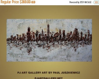 """17% OFF /ONE WEEK Only/ Enormous Chicago  Skyline Scape Knife Abstract by Paul Juszkiewicz 60""""x30"""" brown cognac"""
