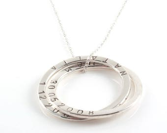 Personalised  Large Russian Ring Necklace , 6 Rings Necklace with Hand stamped  Names - Sterling Silver, Mother's Gifts