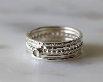 April birthstone ring stack, silver stacking rings with birthstone, April birthday gift - JULIET