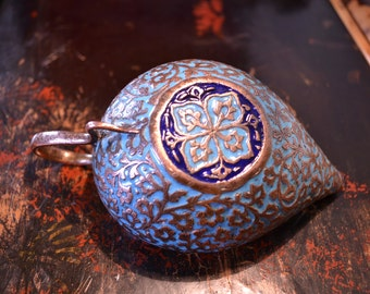 Antique Kashmir enamel on copper lamp/19th century Indo Persian oil lamp/incised copper snake handle cobra/Islamic copper lamp candle holder