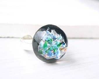 Adjustable Sterling Silver Ring - Cocktail, Nickel Free Jewelry, Black, Foil Glass, Chunky, Size 6.5, Size 7, Size 7.5, Size 8, Green, Blue