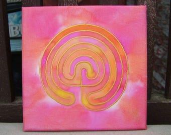 Labyrinth Silk Painting Meditation Mandala  Pink Orange Enlightenment