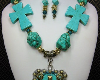 Western Cowgirl Necklace Set / Cross Western Necklace / Chunky Cross Statement Necklace / Statement Jewelry - Gold Turquoise Faith