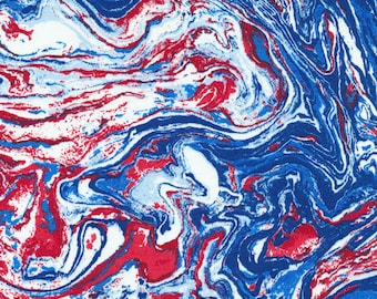 Valor from Fabri-Quilt - Full or Half Yard Red, White, Blue Marbled Modern Patriotic Fabric