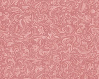 Curiosity for Quilting Treasures - Full or Half Yard Mirabelle Dusty Rose Scrolls - Santoro