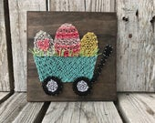 Ready to ship Easter wood string art sign handmade wagon chick bunny egg photo prop spring home decor