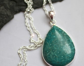 Coral Reef - Beautiful Teal Blue Fossilized Coral Sterling Silver Necklace