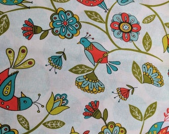 Riley Blake Dutch Treat Bird Fabric - Bird and Flower Fabric- Riley Blake Fabric-  Half yard