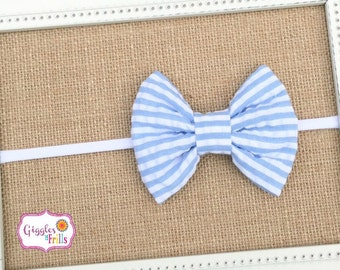 Seersucker Headband, Fabric Bow Headband, Blue and White Striped Headband, Seersucker Baby Headband, Nylon Headband, Blue Seersucker Bow