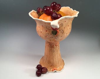 Pedestal bowl/pottery bowl/orange pottery/serving dish/whimsical pottery/wedding gift/polka dot pottery
