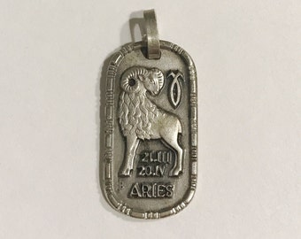 Vintage Aries Zodiac Astrology Pendant