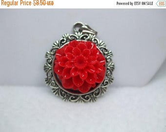 SALE 50% OFF Upcycled Cabochon Flower Necklace Lovely Available in several colors