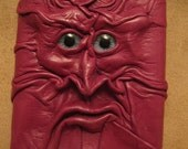 Grichels leather tri-fold wallet - fuchsia with blue carousel horse eyes