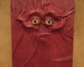"Grichels leather deluxe large notebook/journal - ""Rylis"" 29360 - raspberry with honey brown and green slit pupil bobcat eyes"