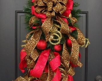 Leopard Christmas Swag, Animal Print Christmas Wreath, Holiday Door Wreath, Flirty Leopard Swag