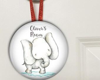 Elephant door hanger - elephant baby shower gift - bedroom door signs for kids - baby boy gifts- personalized baby shower gifts - HAN-PERS-7