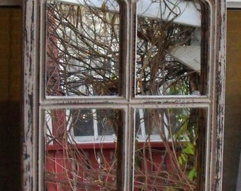 Gothic Window Frame Mirror  Distressed Cream