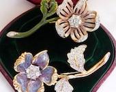 Nolan Miller flower brooch pin set. Enamel Swarovski rhinestones. Original box. 1990s Glamour Collection. Vintage costume jewelry.