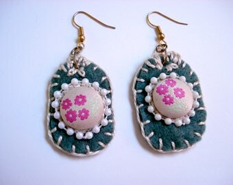 Embroidered Fabric earrings