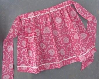 Vintage Pink Floral Apron, cotton print, rick rack,