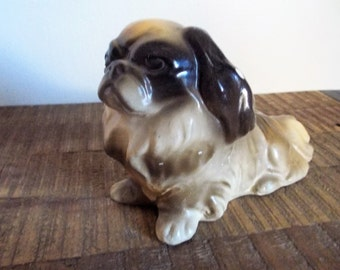 Vintage Chalkware Pekinese Dog Statue