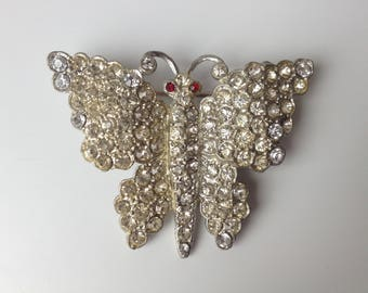 Sparkly Pave Rhinestone Pot Metal Figural Butterfly Brooch – 1930s Art Deco Jewelry