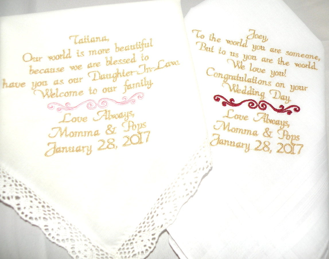Wedding Handkerchiefs For The Family: New Daughter Son Wedding Gift From Mom And Dad To The Bride