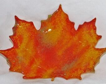 Fused Glass Fall Maple Leaf - Orange on Etsy.
