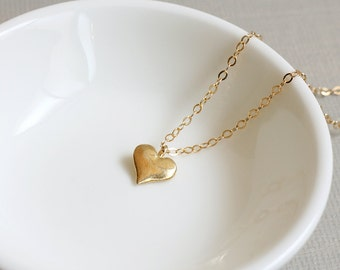 Gold Heart Necklace. solid gold heart. tiny gold heart necklace.small heart gold filled necklace.mini gold heart necklace