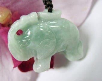 Jade Elephant (xiang 象) Talisman Good Luck Charm Necklace