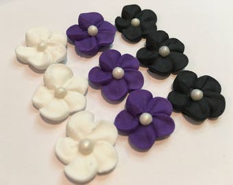 LOT of 100 Royal Icing mini flowers for Cake Decorating
