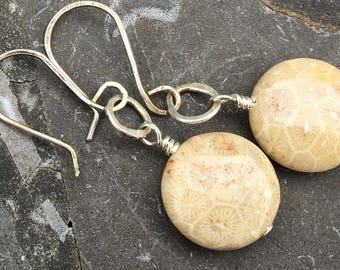 Sterling Silver Ear Wires with Round Fossil Coral Earrings