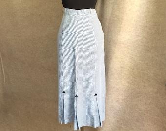 Vintage 50's Pencil Skirt, Straight Skirt, Blue and White Stripes, Long Skirt, Women's Small. 26 Waist, Nautical, Sailor