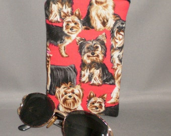 Eyeglass or Sunglasses Case - Zipper Top - Padded Zippered Pouch - Dogs - Yorkie - Yorkshire Terrier