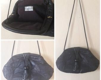 Navy Blue Leather Purse // Vintage Leather Purse // Shoulder bag