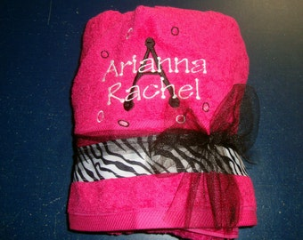 Hooded Towels with Chevron Striped Ribbon and Personalized