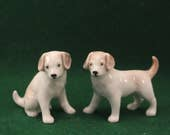 Pair Miniature Dog Figurine Labrador White and Brown Vintage made Japan Porcelain T