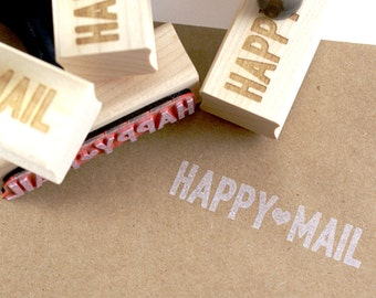 Happy Mail rubber stamp with heart